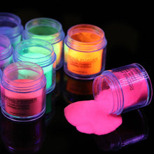Load image into Gallery viewer, BORN PRETT Fluorescence Dipping Nail Powder 10ml Dip Nail Powder Pigment Dust Natural Dry Nail Art Decoration Glow in uv light