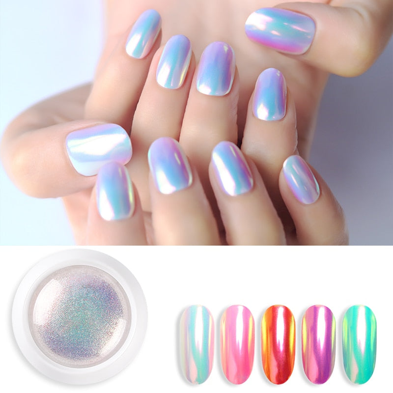 1 Box Pearl Shell Glitter Nail Chrome Pigment Powder Dazzling DIY Micro Holographic Unicorn Nail Art Decorations Polish Manicure