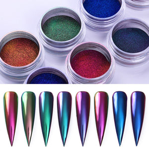 0.2g/Box Chameleon Mirror Laser Nail Glitter Powders Auroras Effect Nail Art Chrome Pigment Dust DIY Design Decoration