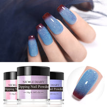 Load image into Gallery viewer, NICOLE DIARY Thermal Glitter Dipping Nail Powder Sparkly Shinning Dip Nail Glitter Color Changing Chrome Dust  No UV Lamp Cure