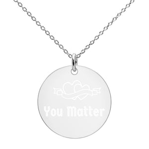 PAG Engraved Silver Disc Necklace