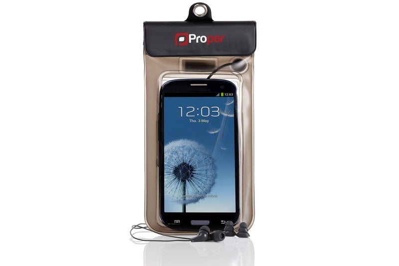 ProperAV Waterproof Case for Smartphones inc Waterproof Earphones