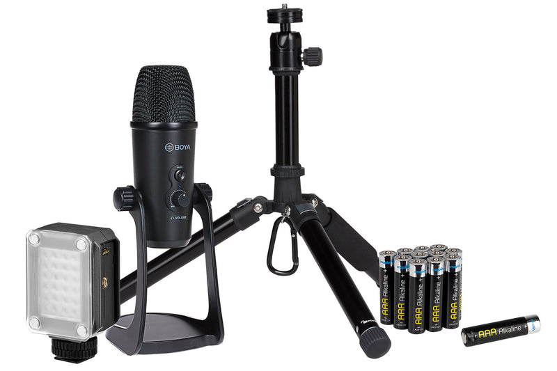 ProSound Vlogger Accessory Kit inc LED Video Light, Batteries, USB Condenser Microphone and Tripod