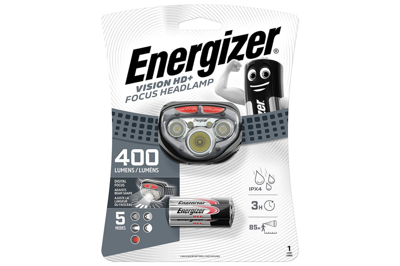 Energizer Vision HD+ Focus LED Head Torch, 400 Lumens, 5 Modes, inc 3x AAA Batts