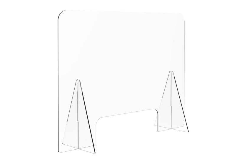 ProperAV Protective Acrylic Sneeze Guard / Shield - 1200x600x228mm