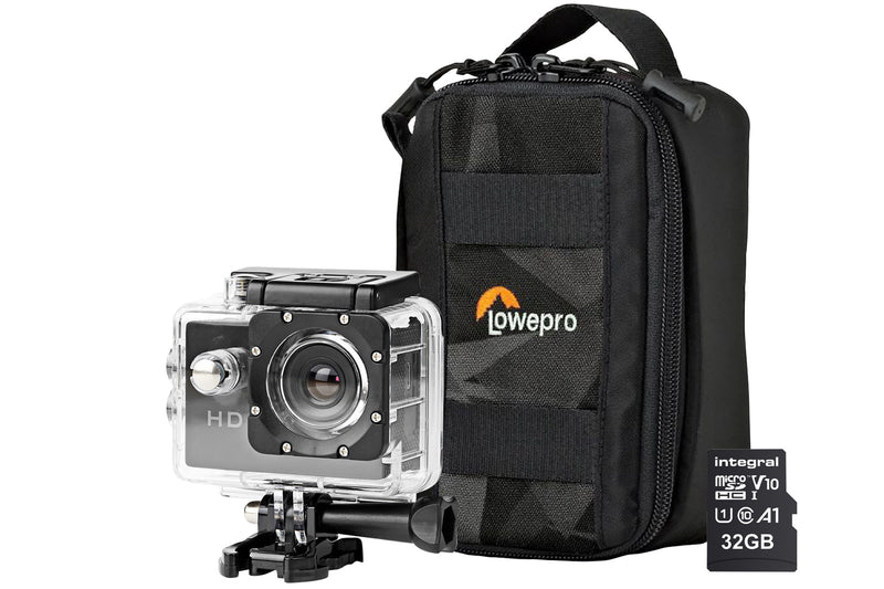 Nedis 720P HD Action Cam inc Waterproof Case, Mounting Kits, LowePro Protective Bag & 32GB MicroSD