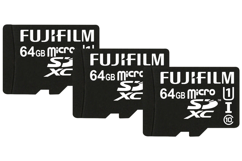 Fujifilm 64 GB UHS-I Class 10 Micro SDXC Card with Adapter - Pack of 3