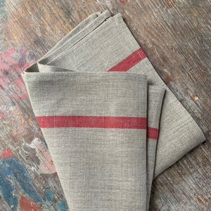 Natural with Red Stripe Kitchen Towel