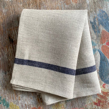 Load image into Gallery viewer, Natural with Blue Stripe Kitchen Towel