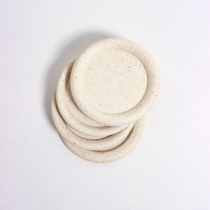 White Speckled Coasters, Set of 4