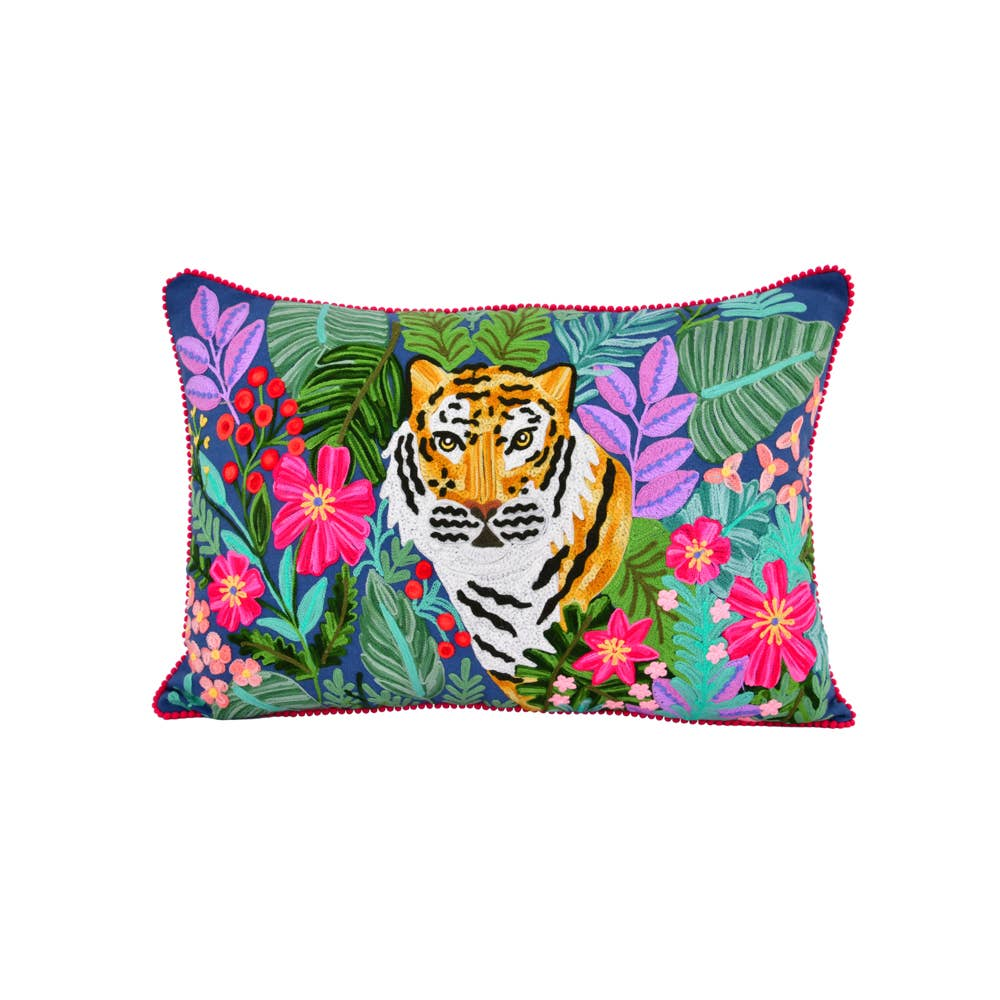 Embroidered Jungle Tiger Cotton Pillow