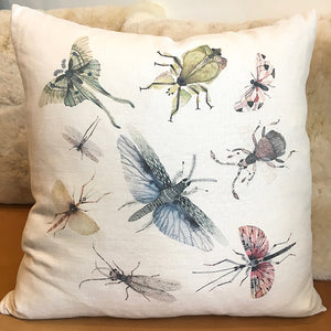 Sacred Bugs 20″ White Linen Pillow