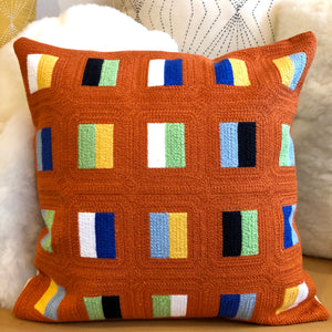Embroidered Orange Dashes Pillow
