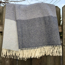 Load image into Gallery viewer, Lambswool Throw Blanket in Light and Dark Denim