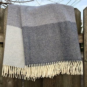 Lambswool Throw Blanket in Light and Dark Denim