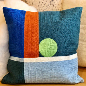 Embroidered Green Dot Pillow