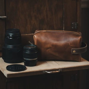 Brown Large Leather Dopp Kit