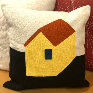 Embroidered House Pillow