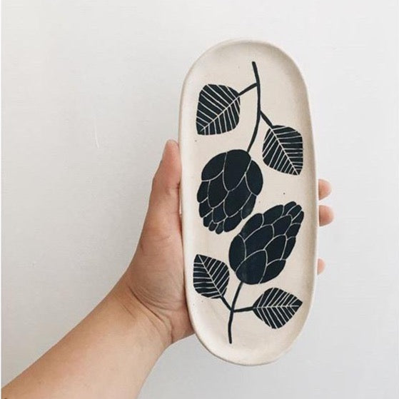 Ceramic Floral Oval Dish