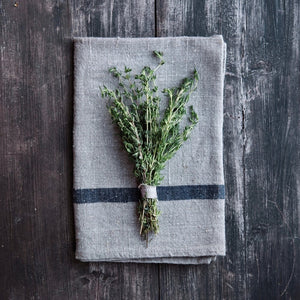 Natural with Blue Stripe Kitchen Towel