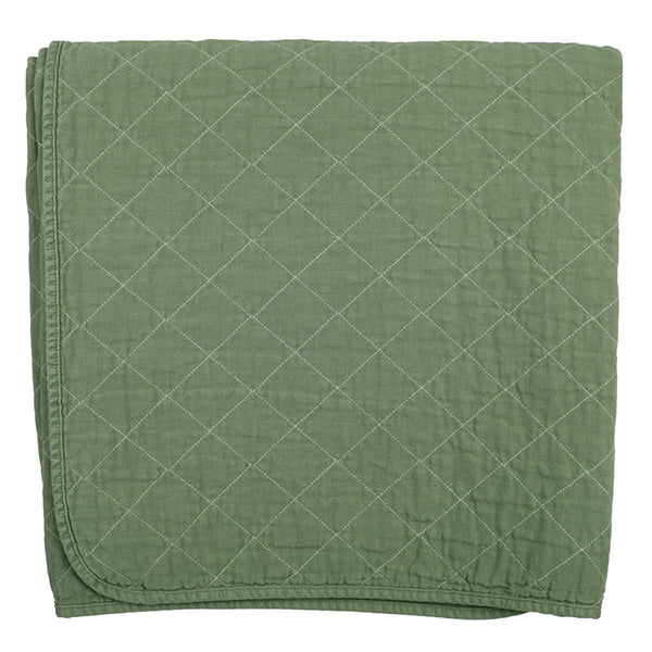 Slate Quilted Cotton Solid Throw Blanket