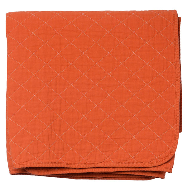 Orange Quilted Cotton Solid Throw Blanket