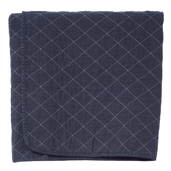 Charcoal Quilted Cotton Solid Throw Blanket