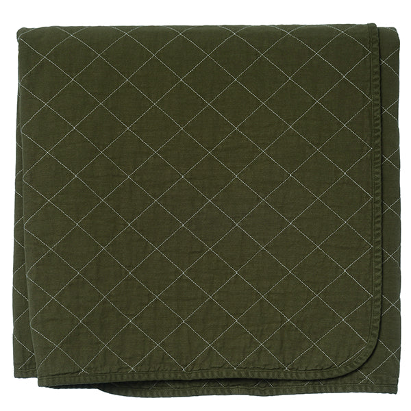 Olive Quilted Cotton Solid Throw Blanket