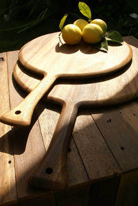 Acacia Wood Round Board with Handle
