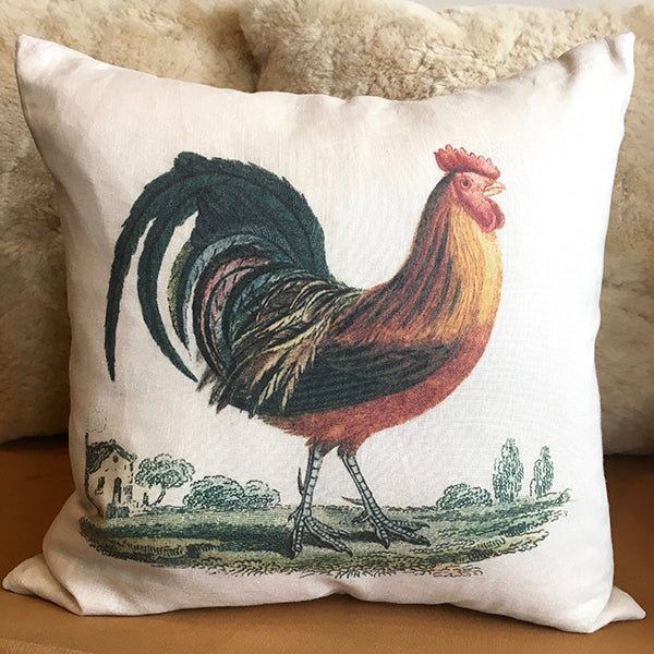 Rooster 20″ White Linen Pillow