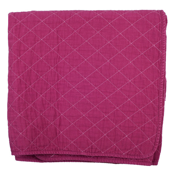 Fuchsia Quilted Cotton Solid Throw Blanket