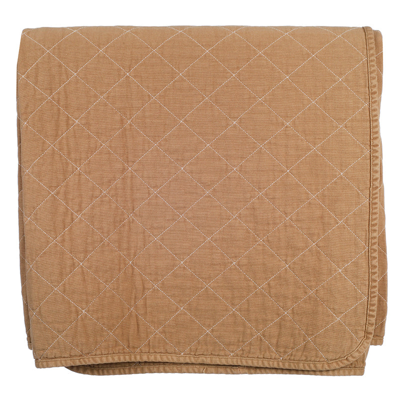 Tan Quilted Cotton Solid Throw Blanket