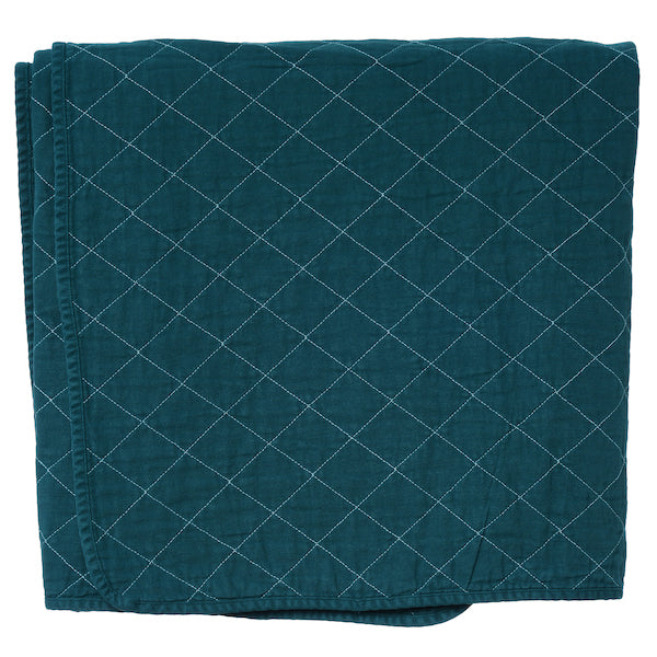 Teal Quilted Cotton Solid Throw Blanket