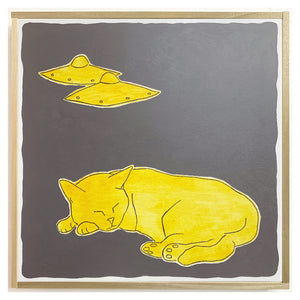 Cat Sleeping with Two UFOs Painting by Scott Chasse
