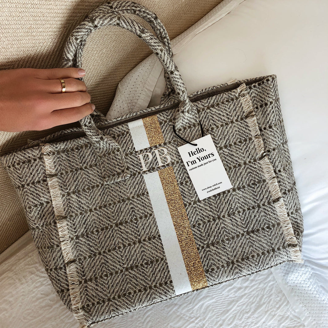 ST.TROPEZ STRIPED TWEED LIGHT GREY GLITTER