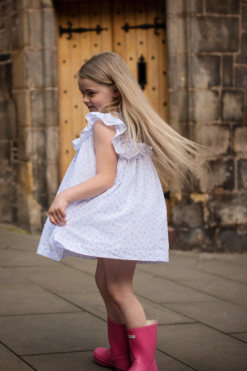 Blue Cherry Ruffles Dress