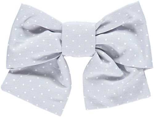 Dotted Grey Hair Bow
