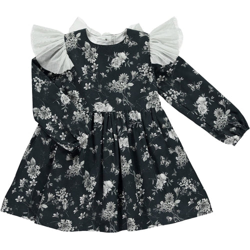 Black Floral and Tule Dress
