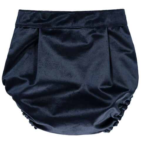 Navy Blue Velvet Shorts