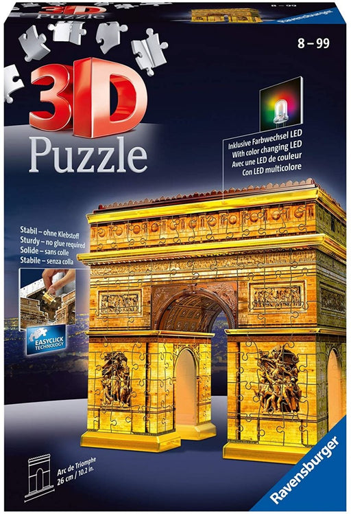 Arc De Triomphe Night Edition 216 Piece 3D Jigsaw Puzzle with LED Lighting - The Panic Room Escape Ltd