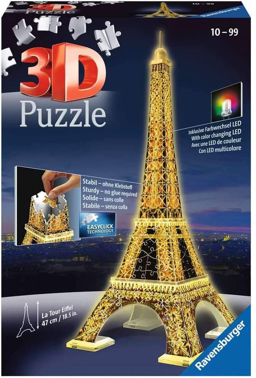 Eiffel Tower Night Edition 216 piece 3D Jigsaw Puzzle with LED lighting - The Panic Room Escape Ltd