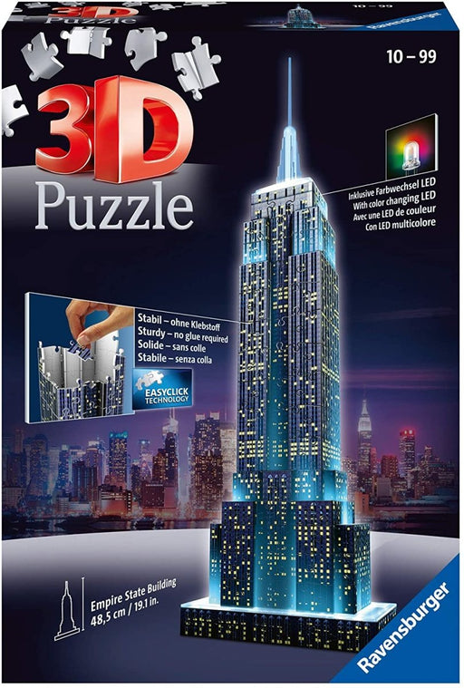 Empire State Building Night Edition 216 piece 3D Jigsaw Puzzle with LED lighting - The Panic Room Escape Ltd