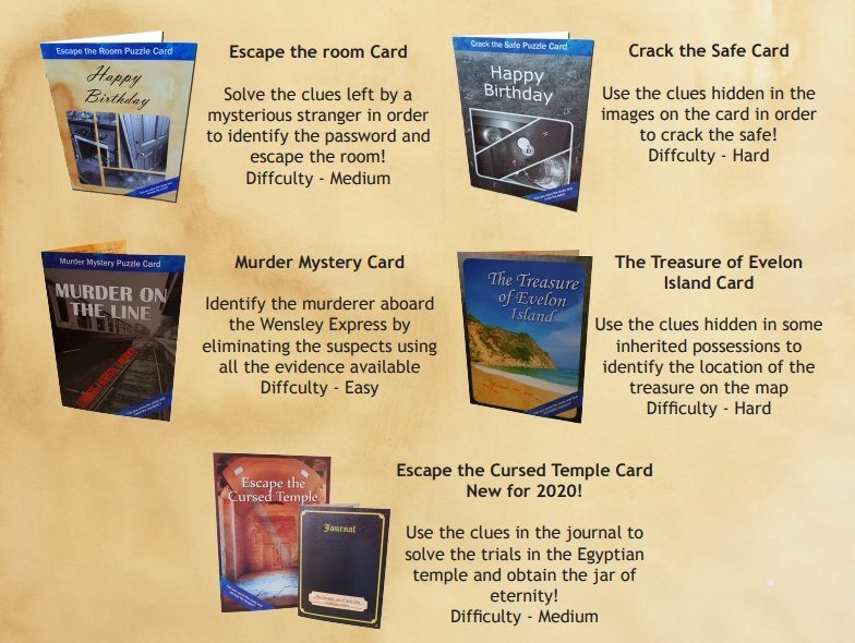 Puzzle Cards - 5 Cards To Choose From - The Panic Room Escape Ltd