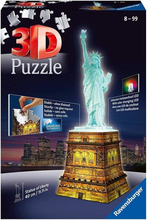 Statue of Liberty Night Edition 108 Piece 3D Jigsaw Puzzle with LED Lighting - The Panic Room Escape Ltd