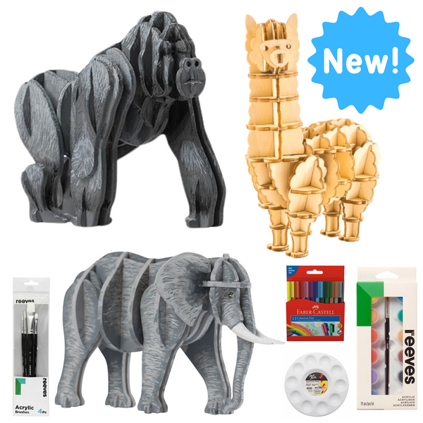 Creative Workshop with 3 build + paint models - Gorilla, Alpaca and Elephant