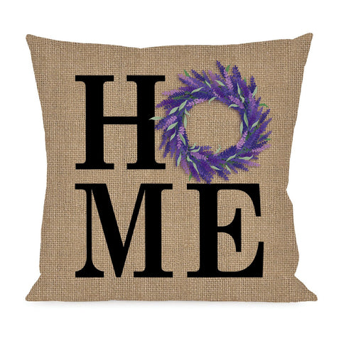 HOME LAVENDER WREATH INTERCHANGEABLE PILLOW COVER