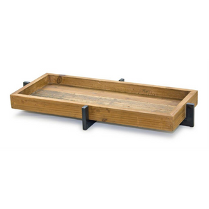 "20"" X 10"" IRON AND WOOD TRAY"
