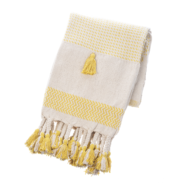 OCHRE NATURAL STRIPED WOVEN THROW