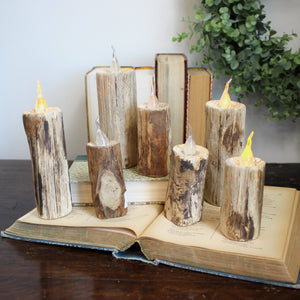 "5.11"" WOOD FAUX CANDLE"