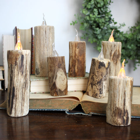 "7.09"" WOOD FAUX CANDLE"